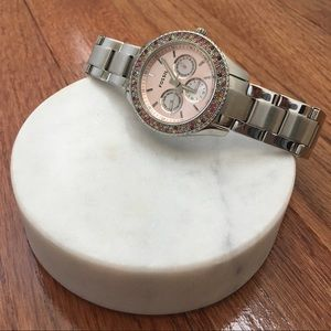 Fossil Silver and Multi-color Crystal Face Watch